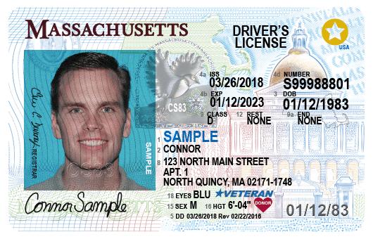 Massachusetts Drivers License Sample.